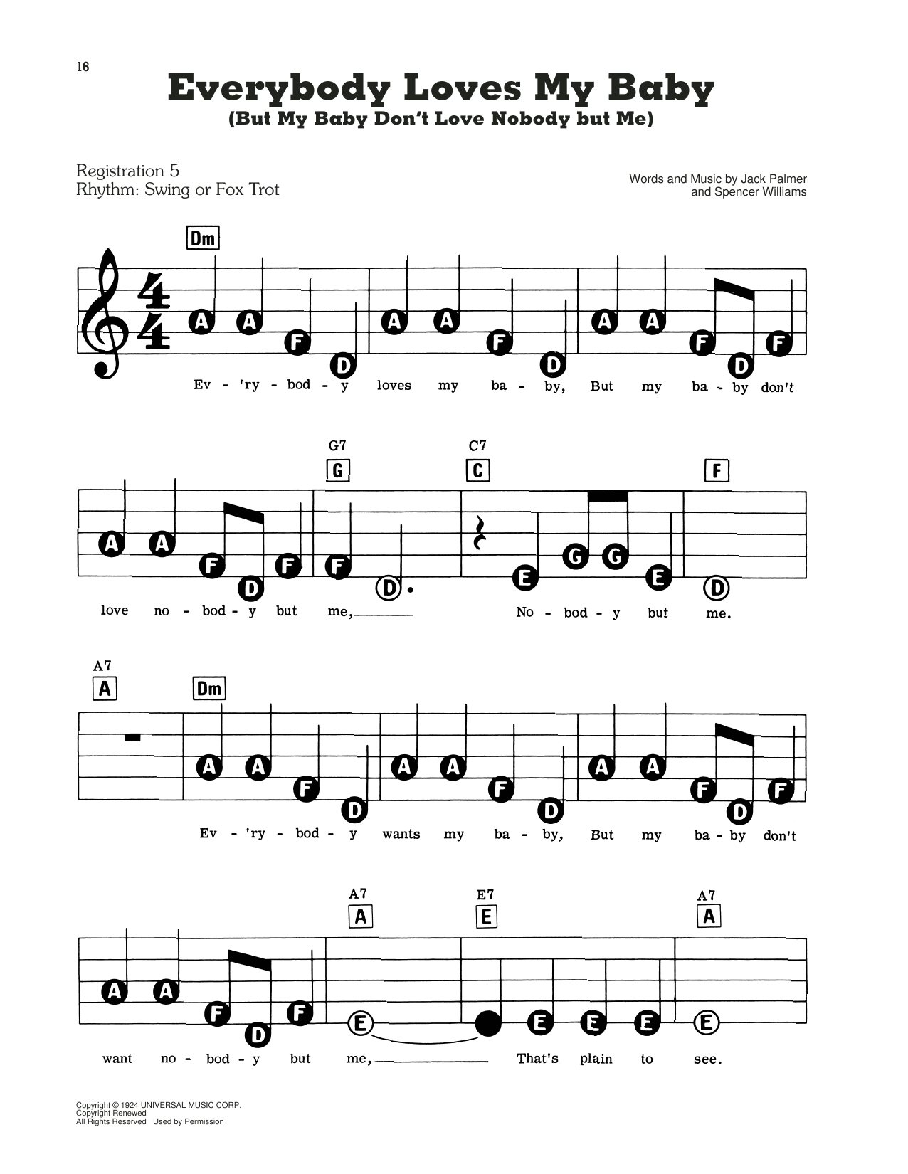 Clarence Williams and The Blue Five Everybody Loves My Baby (But My Baby Don't Love Nobody But Me) sheet music notes and chords. Download Printable PDF.