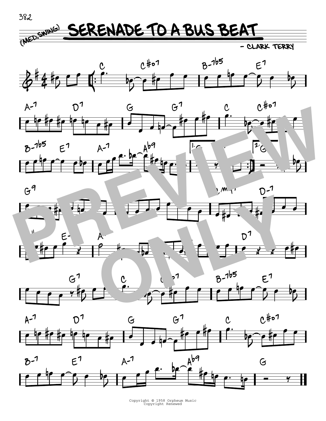 Clark Terry Serenade To A Bus Beat sheet music notes and chords. Download Printable PDF.