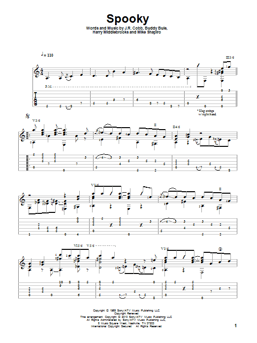 Classics IV Spooky sheet music notes and chords. Download Printable PDF.