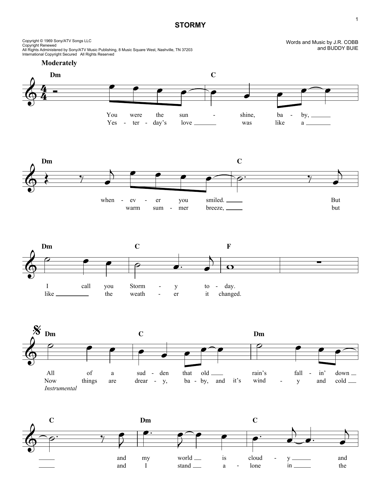 Classics IV Stormy sheet music notes and chords. Download Printable PDF.