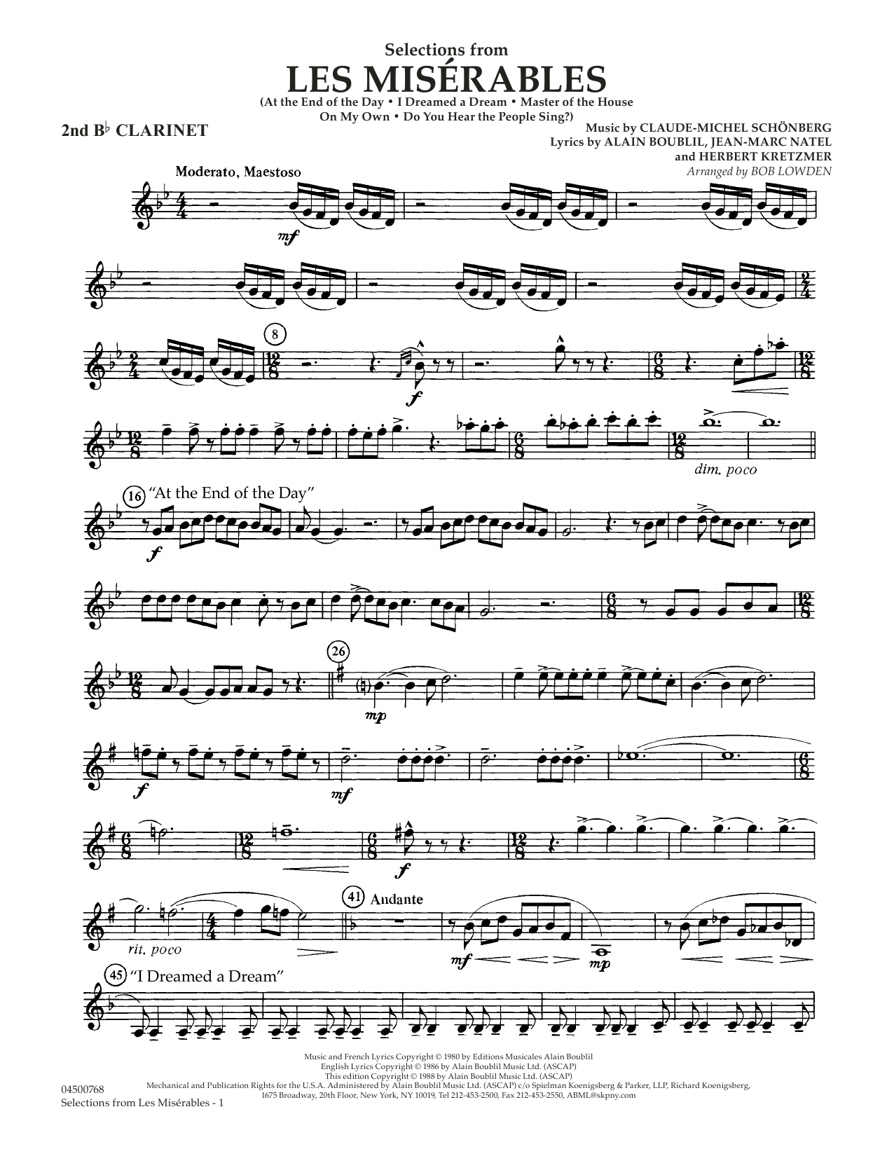 Claude-Michael Schonberg Selections from Les Miserables (arr. Bob Lowden) - Bb Clarinet 2 sheet music notes and chords