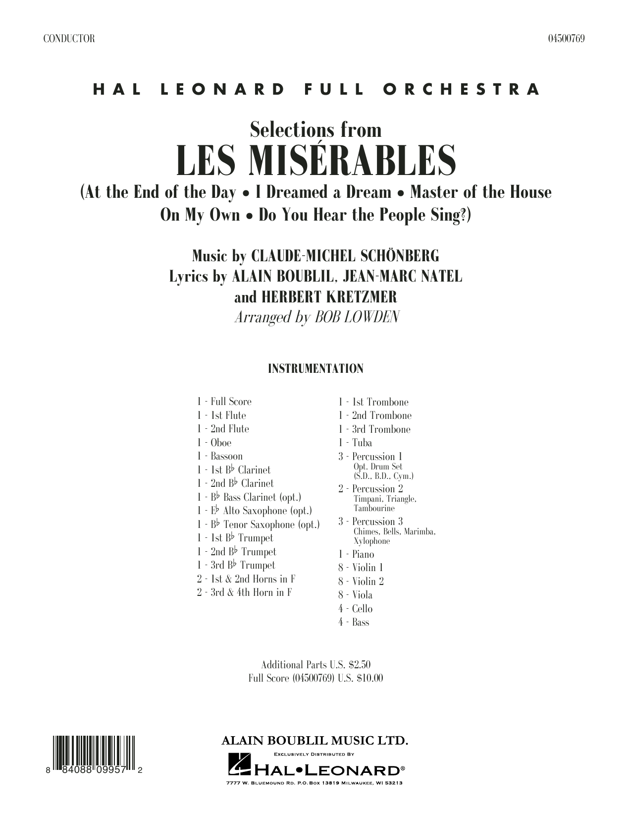 Claude-Michael Schonberg Selections from Les Miserables (arr. Bob Lowden) - Full Score sheet music notes and chords. Download Printable PDF.