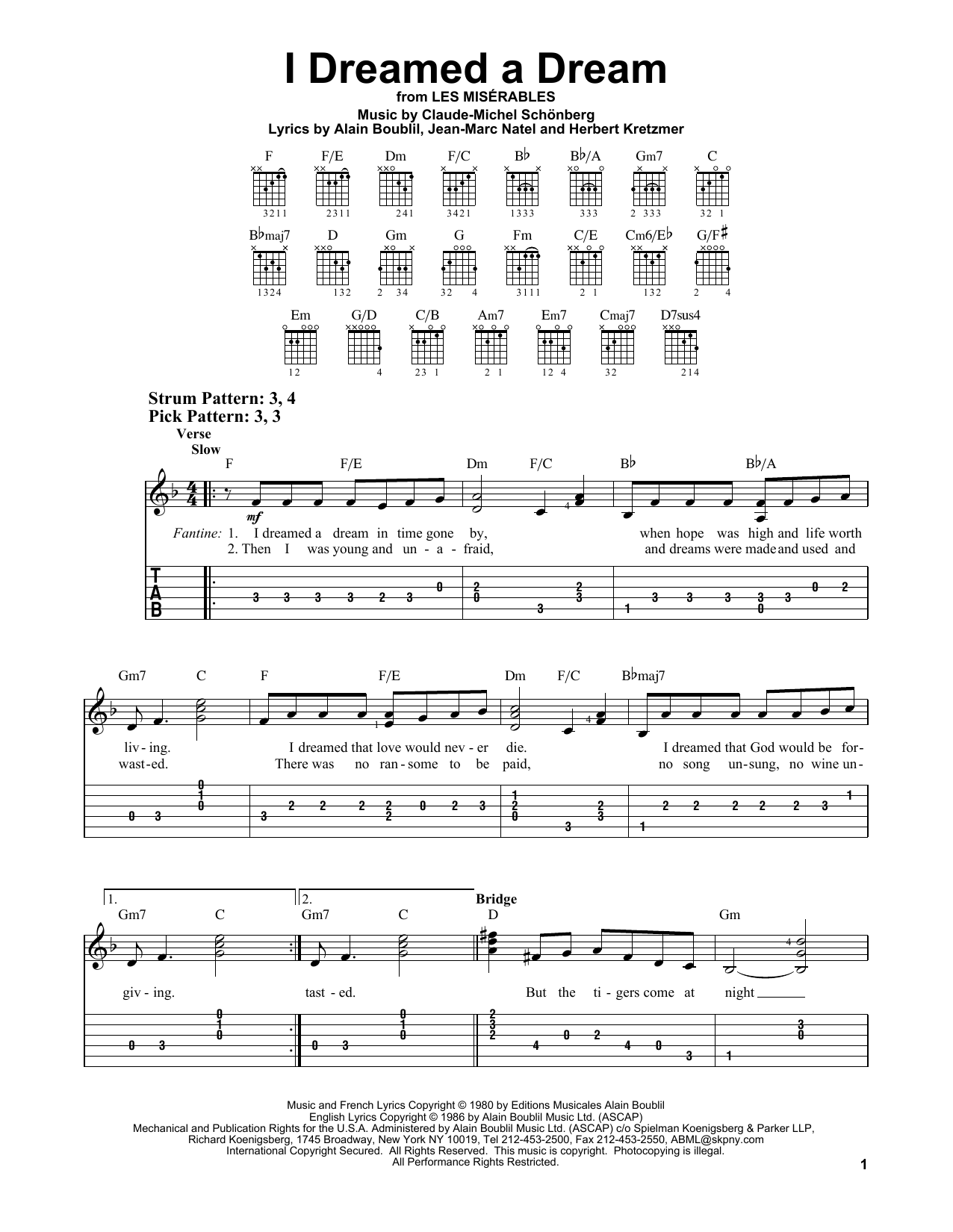 Boublil and Schonberg I Dreamed A Dream (from Les Miserables) sheet music notes and chords. Download Printable PDF.