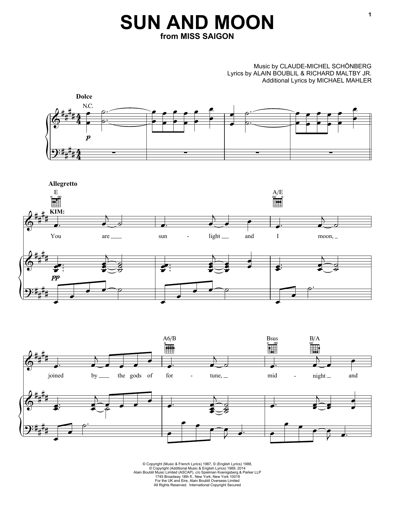 Boublil and Schonberg Sun And Moon sheet music notes and chords. Download Printable PDF.
