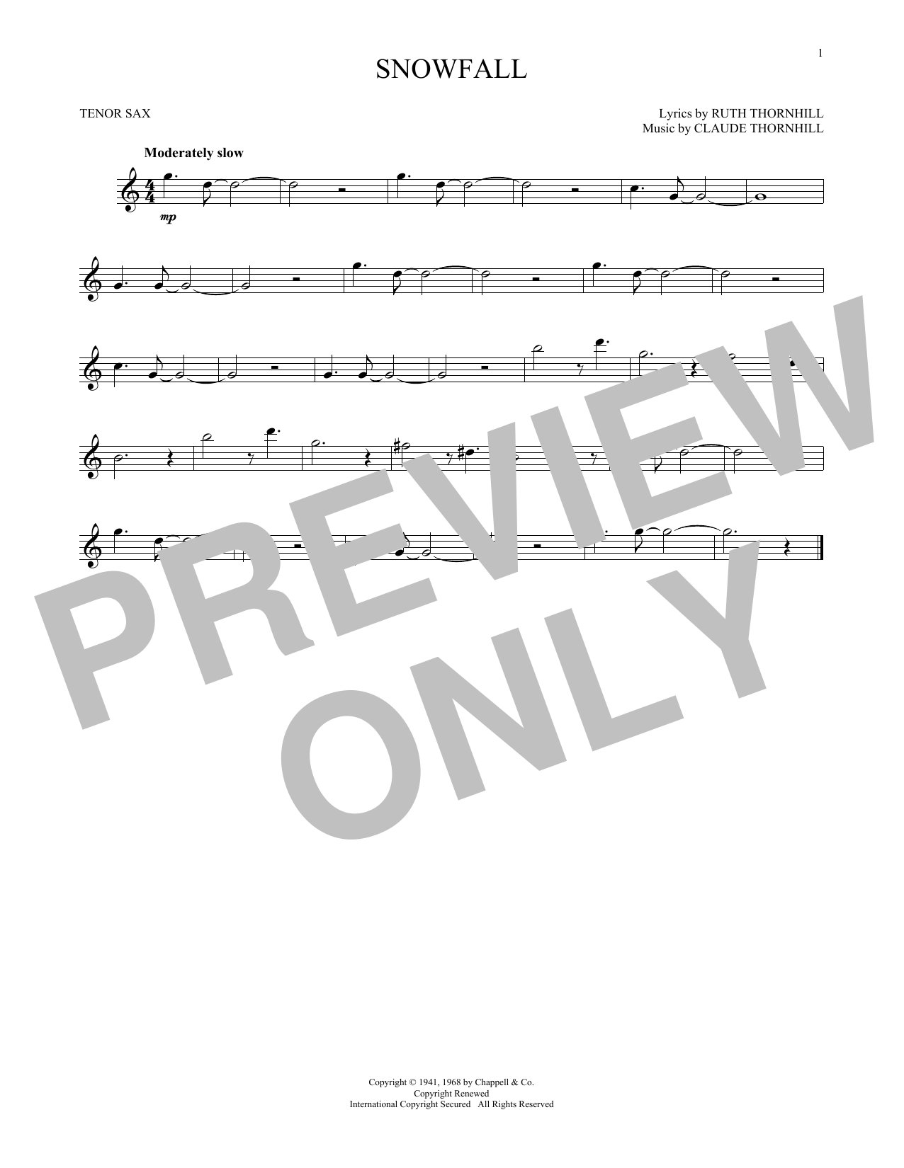 Claude & Ruth Thornhill Snowfall sheet music notes and chords. Download Printable PDF.