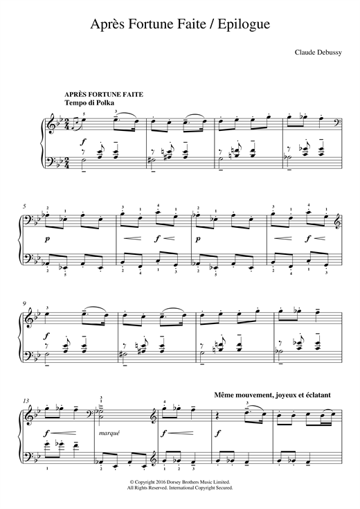 Claude Debussy Apres Fortune Faite/ Epilogue sheet music notes and chords. Download Printable PDF.