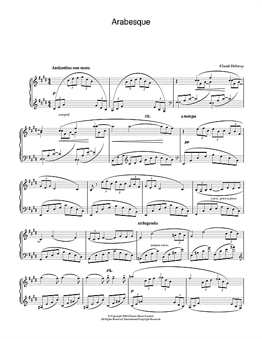 Claude Debussy Arabesque No.1 sheet music notes and chords. Download Printable PDF.