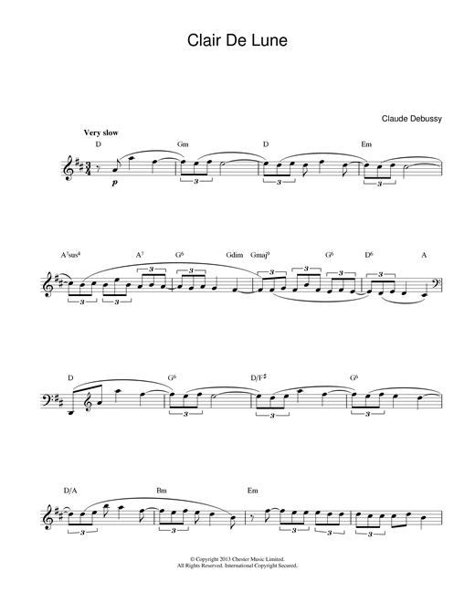 Claude Debussy Clair de Lune sheet music notes and chords. Download Printable PDF.