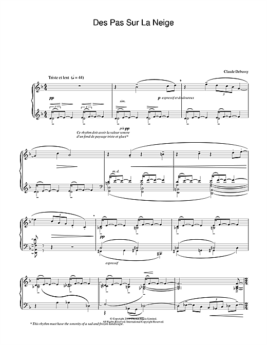 Claude Debussy Des Pas Sur La Neige sheet music notes and chords. Download Printable PDF.