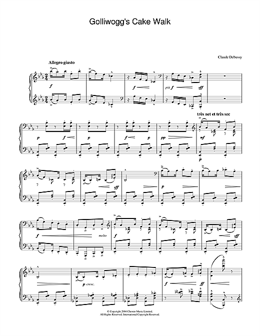 Claude Debussy Golliwogg's Cake Walk sheet music notes and chords. Download Printable PDF.