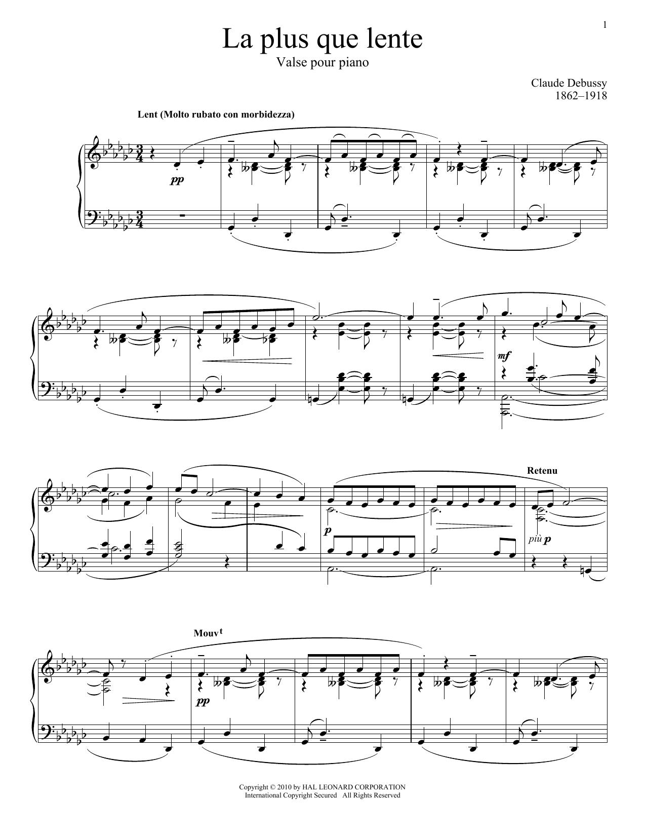 Claude Debussy La Plus Que Lente sheet music notes and chords