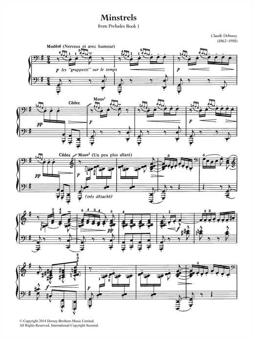 Claude Debussy Minstrels sheet music notes and chords. Download Printable PDF.
