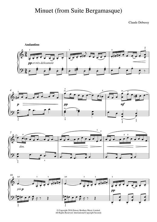 Claude Debussy Minuet (From Suite Bergamasque) sheet music notes and chords