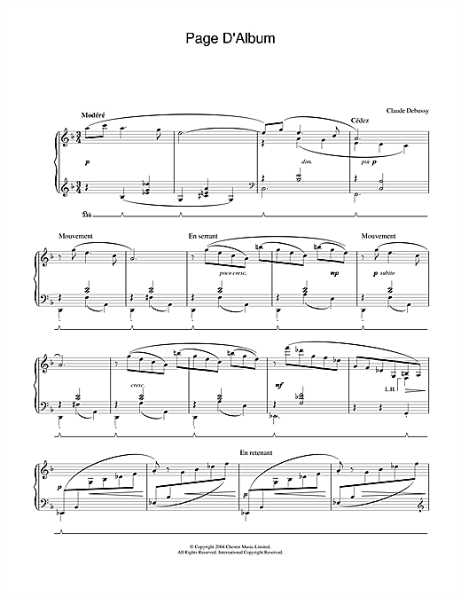 Claude Debussy Page D'Album sheet music notes and chords. Download Printable PDF.