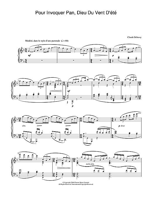 Claude Debussy Pour Invoquer Pan, Dieu Du Vent D'été sheet music notes and chords. Download Printable PDF.