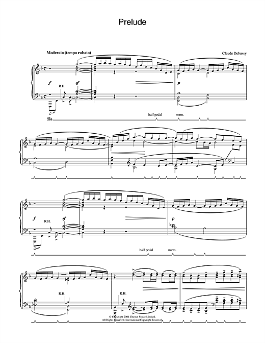 Claude Debussy Prelude sheet music notes and chords. Download Printable PDF.