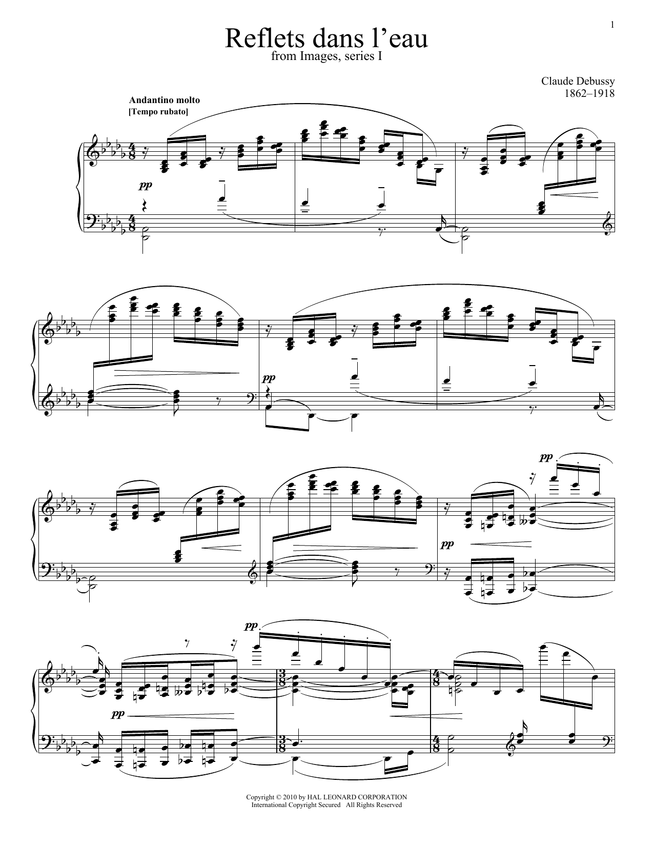 Claude Debussy Reflets Dans L'eau sheet music notes and chords