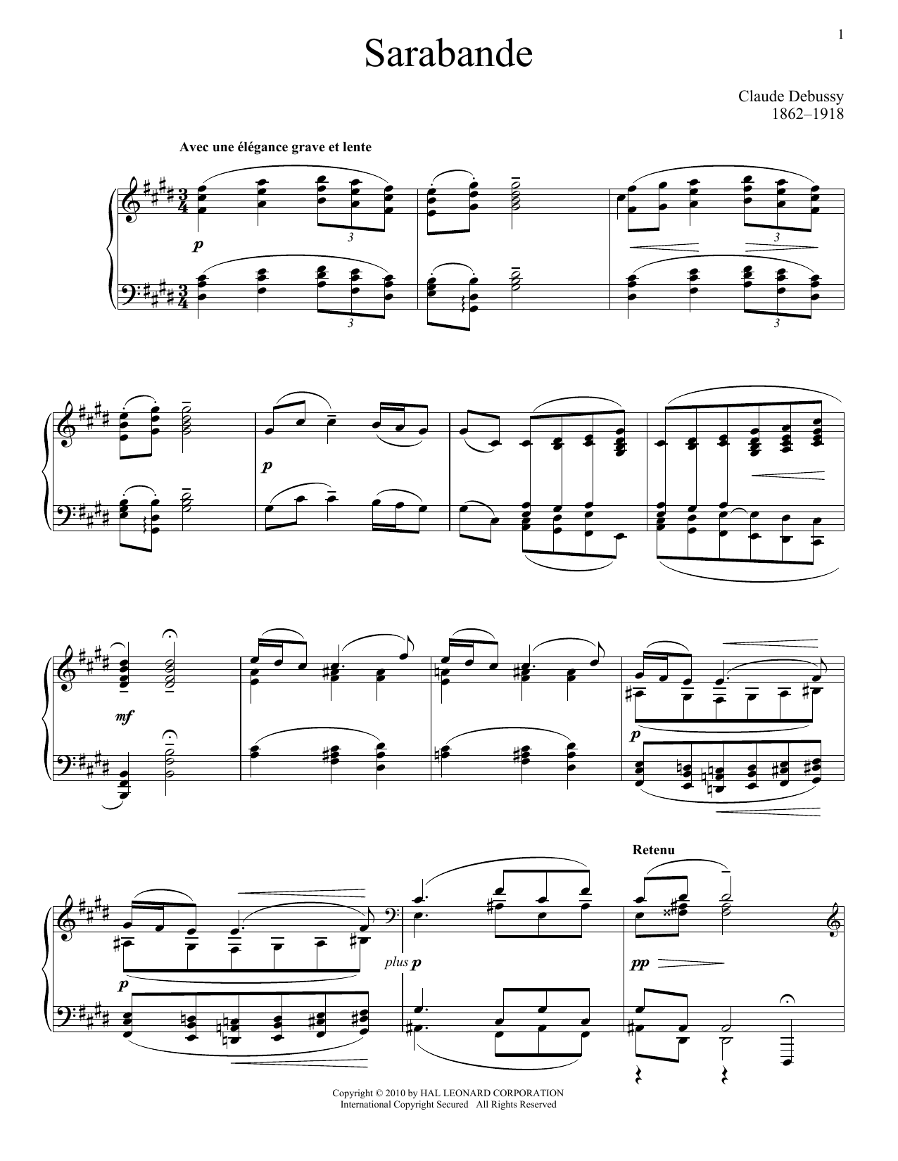 Claude Debussy Sarabande, Pour Le Piano sheet music notes and chords. Download Printable PDF.