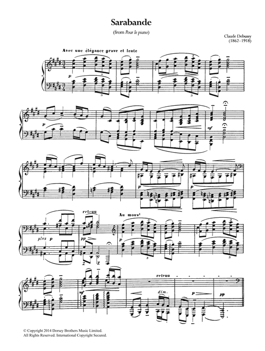 Claude Debussy Sarabande From 'Pour Le Piano' sheet music notes and chords. Download Printable PDF.