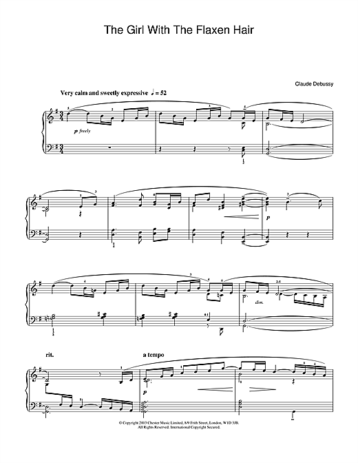 Claude Debussy The Girl With The Flaxen Hair sheet music notes and chords. Download Printable PDF.