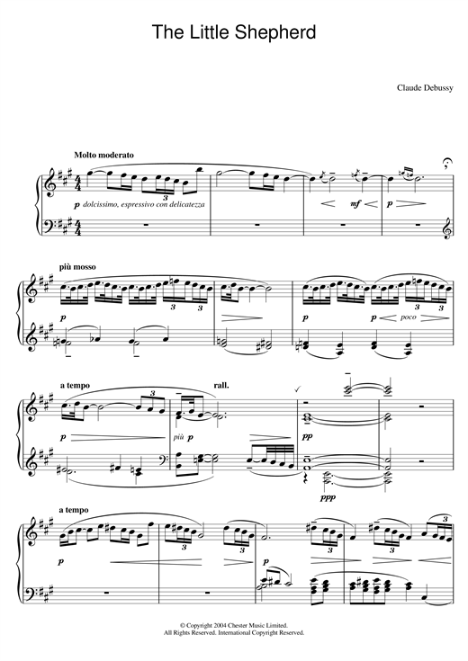 Claude Debussy The Little Shepherd sheet music notes and chords. Download Printable PDF.