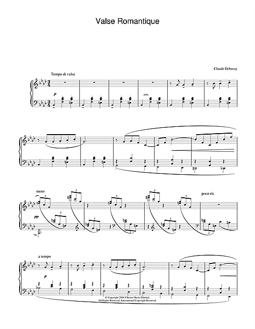 Claude Debussy Valse Romantique sheet music notes and chords