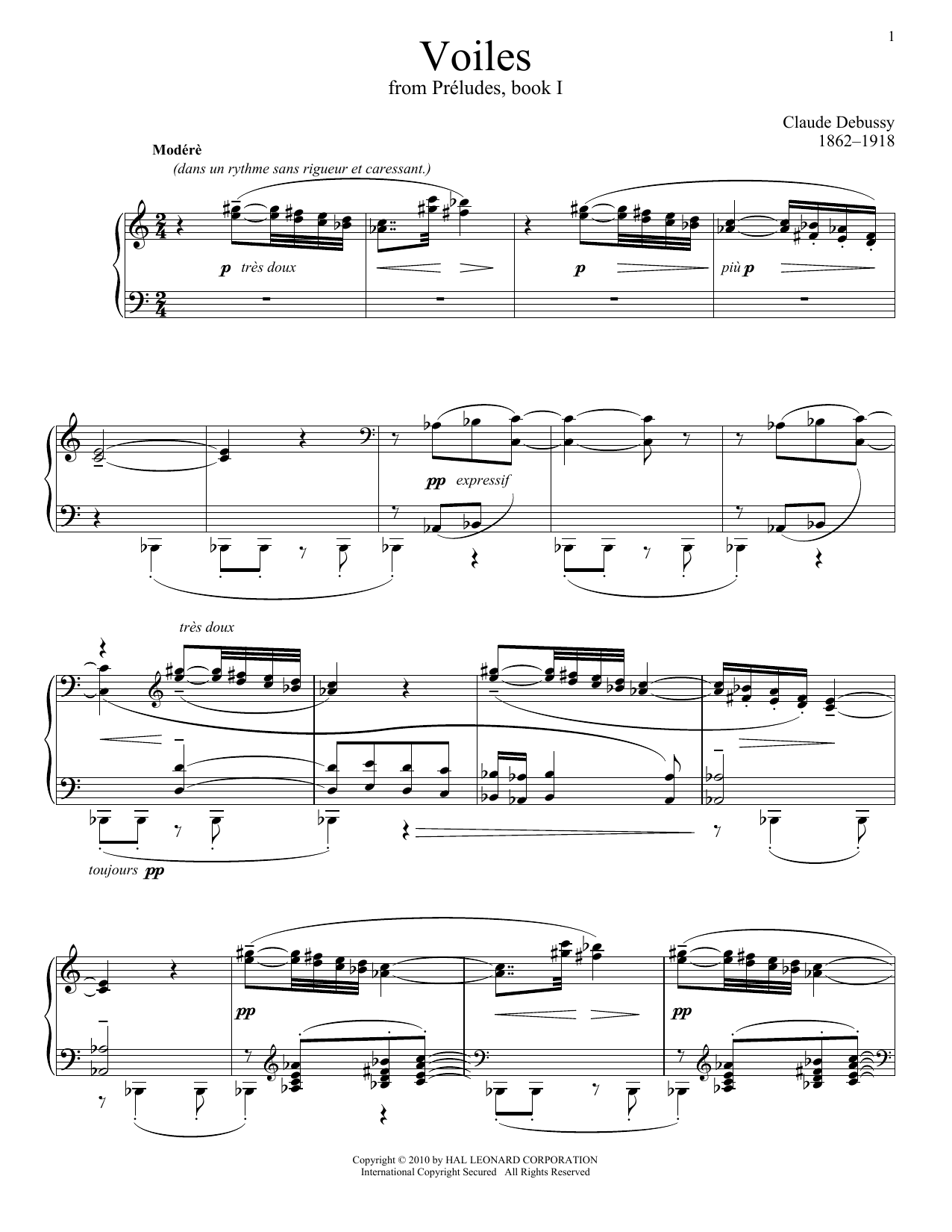 Claude Debussy Voiles sheet music notes and chords. Download Printable PDF.
