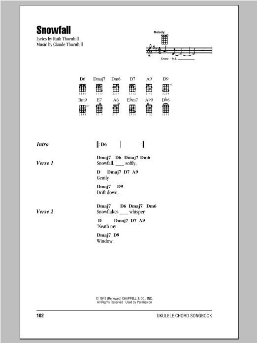 Claude Thornhill Snowfall sheet music notes and chords. Download Printable PDF.