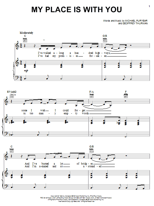 Clay Crosse My Place Is With You sheet music notes and chords. Download Printable PDF.