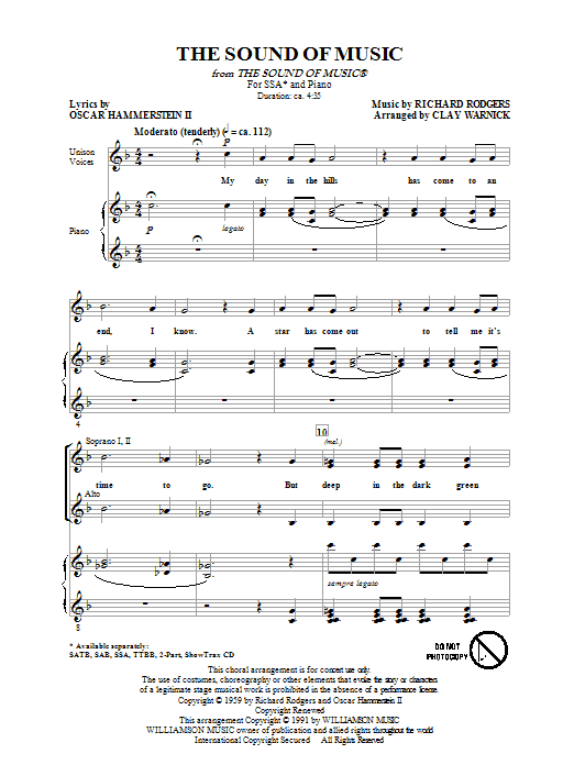 Rodgers & Hammerstein The Sound of Music (arr. Clay Warnick) sheet music notes and chords. Download Printable PDF.
