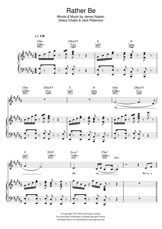 Clean Bandit Rather Be (feat. Jess Glynne) sheet music notes and chords