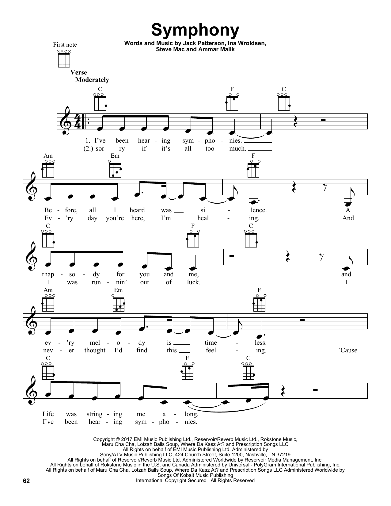Clean Bandit Symphony (feat. Zara Larsson) sheet music notes and chords. Download Printable PDF.