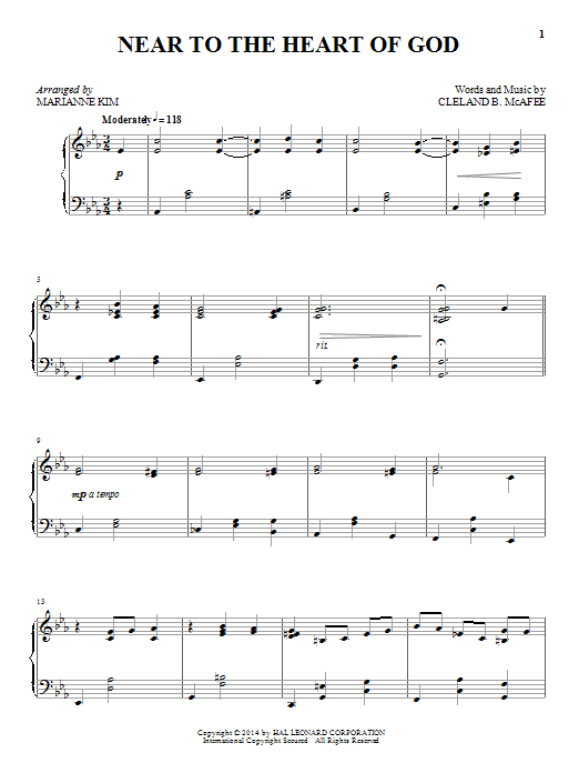 Cleland B. McAfee Near To The Heart Of God sheet music notes and chords. Download Printable PDF.