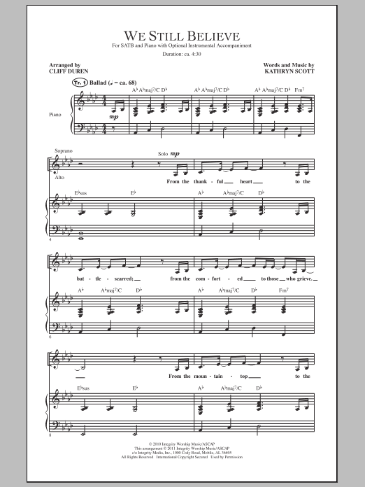 Cliff Duren We Still Believe sheet music notes and chords. Download Printable PDF.