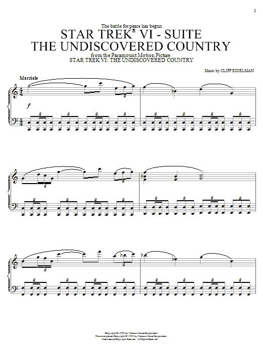 Cliff Eidelman Star Trek(R) VI - The Undiscovered Country sheet music notes and chords. Download Printable PDF.