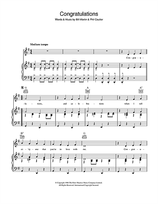 Cliff Richard Congratulations sheet music notes and chords. Download Printable PDF.