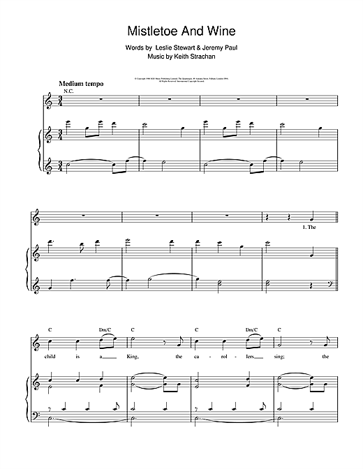 Cliff Richard Mistletoe And Wine sheet music notes and chords
