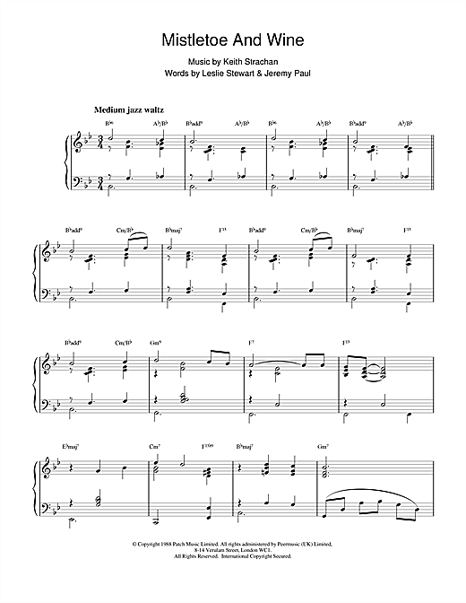 Cliff Richard Mistletoe And Wine (jazzy arrangement) sheet music notes and chords. Download Printable PDF.