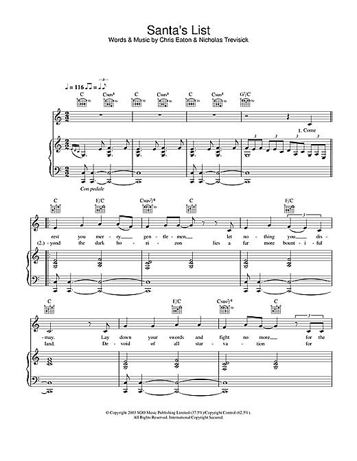 Cliff Richard Santa's List sheet music notes and chords. Download Printable PDF.