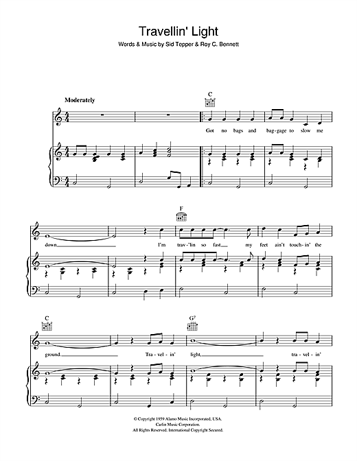 Cliff Richard Travellin' Light sheet music notes and chords. Download Printable PDF.