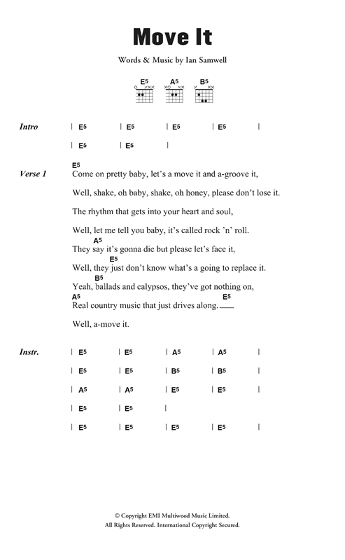 Cliff Richard & The Drifters Move It sheet music notes and chords. Download Printable PDF.