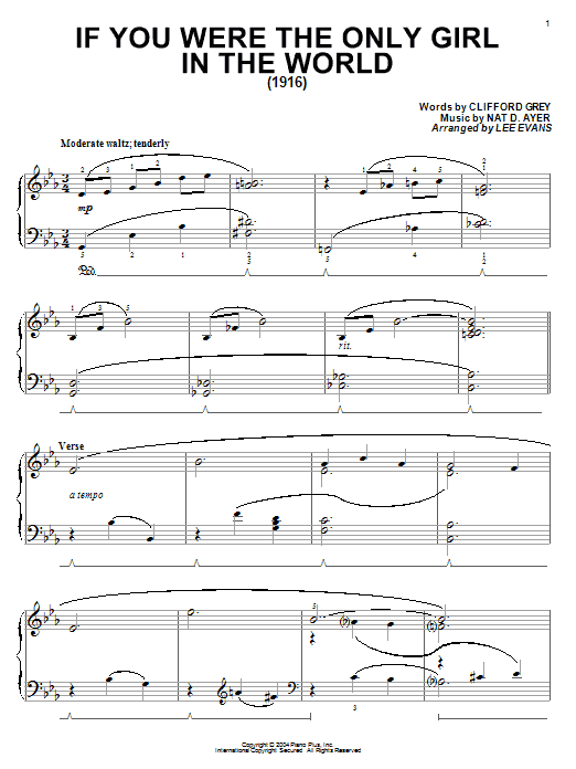 Clifford Grey If You Were The Only Girl In The World sheet music notes and chords. Download Printable PDF.