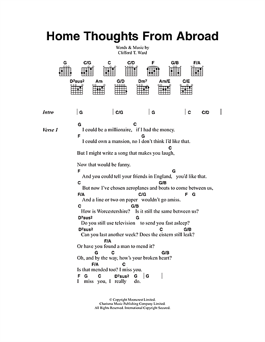 Clifford T. Ward Home Thoughts From Abroad sheet music notes and chords