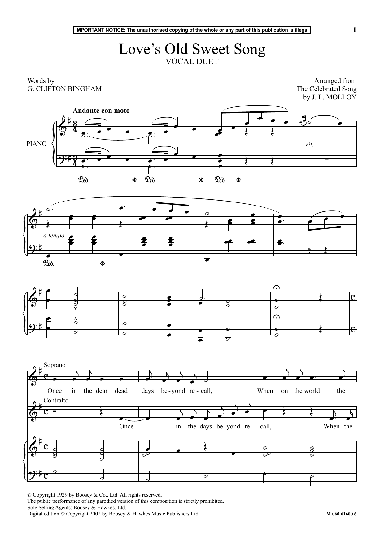 Clifton Bingham Love's Old Sweet Song sheet music notes and chords. Download Printable PDF.