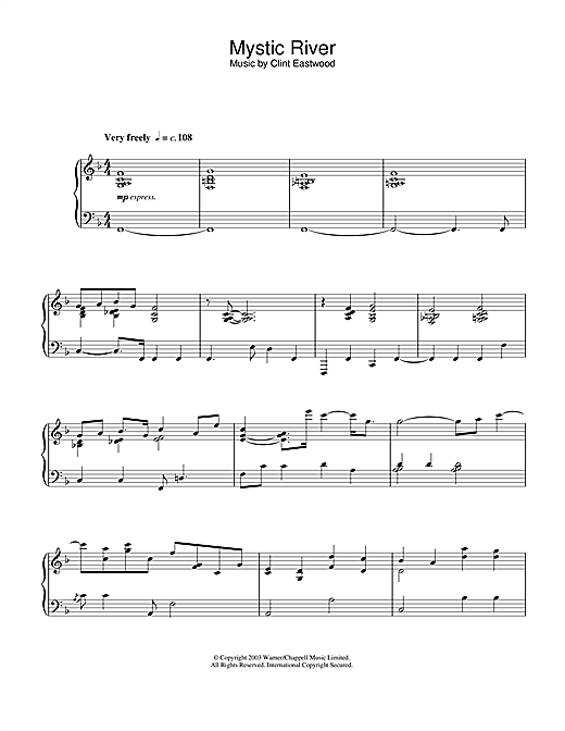 Clint Eastwood Mystic River (main theme) sheet music notes and chords. Download Printable PDF.