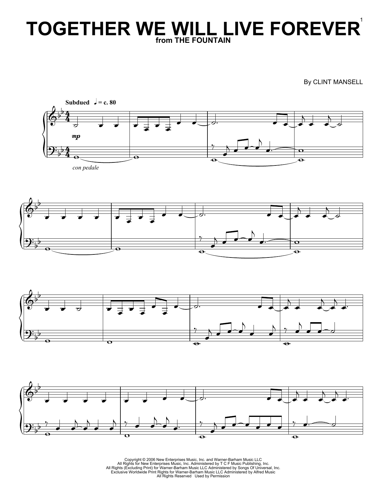 Clint Mansell Together We Will Live Forever sheet music notes and chords. Download Printable PDF.