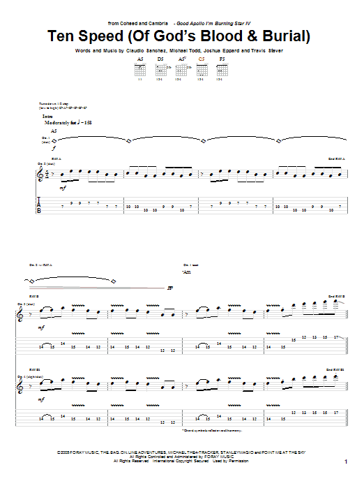 Coheed And Cambria Ten Speed (Of God's Blood & Burial) sheet music notes and chords. Download Printable PDF.