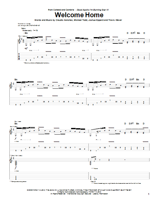 Coheed And Cambria Welcome Home sheet music notes and chords. Download Printable PDF.