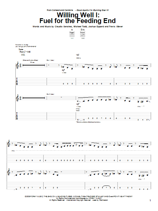 Coheed And Cambria Willing Well I: Fuel For The Feeding End sheet music notes and chords. Download Printable PDF.