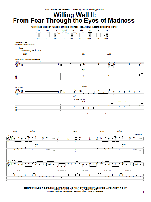 Coheed And Cambria Willing Well II: From Fear Through The Eyes Of Mad sheet music notes and chords. Download Printable PDF.